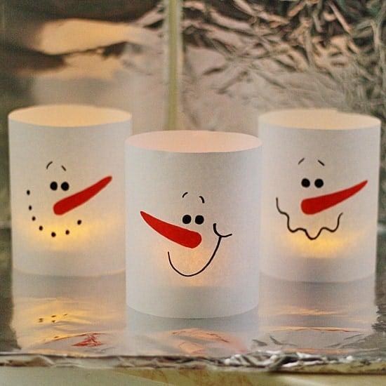 3 Minute Paper Snowman Luminaries by @amandaformaro Crafts by Amanda
