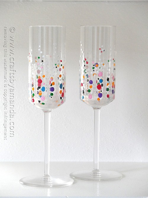 colorful painted confetti champagne glasses