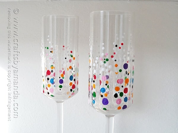 colorful confetti champagne glasses