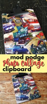 mod podge photo collage clipboard pin image