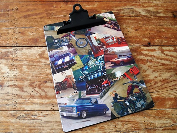 photo collage clipboard with cars and motorcycles