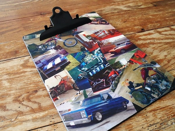 Mod podge photo collage clipboard