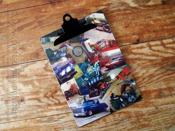 cars and motorcycle mod podge clipboard