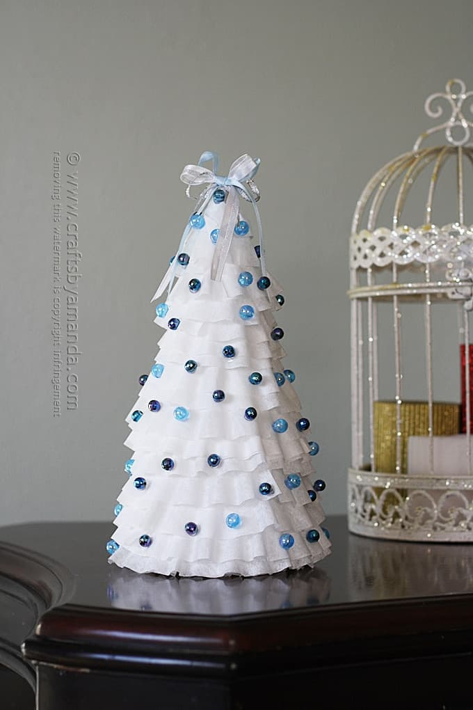 White and Blue Coffee Filter Tree - Amanda Formaro, Crafts by Amanda