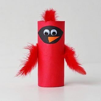 Cardboard Tube Cardinal @amandaformaro Crafts by Amanda