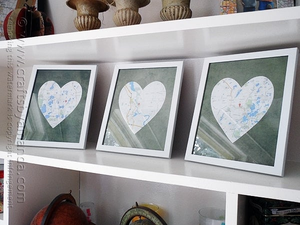 Framed Heart Maps - Crafts by Amanda