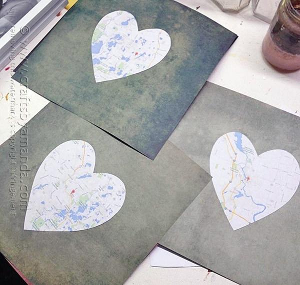 Framed Heart Maps @amandaformaro Crafts by Amanda