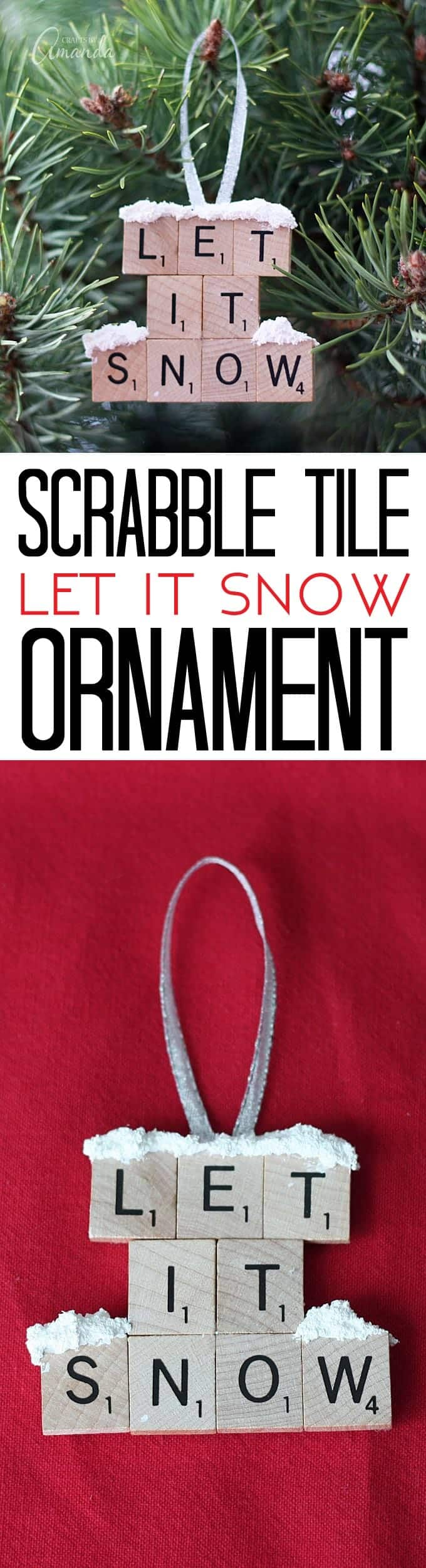"Make a ""Let It Snow"" ornament from scrabble tiles and snow texture paint! So easy to make, you will need a paper plate and some felt too, great to give as gifts! A fun Christmas ornament project for kids and adults."