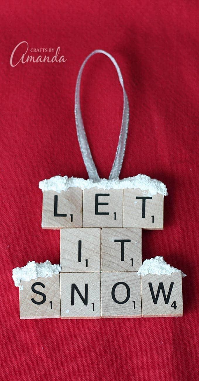 Scrabble Tile Ornament Let It Snow