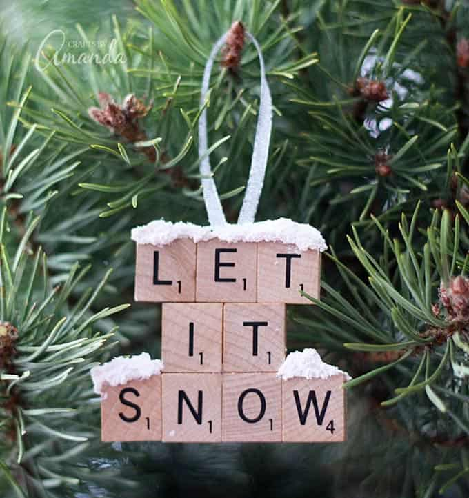 make a let it snow scrabble tile ornament from scrabble tiles and snow texture
