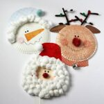 paper plate santa, rudolph and snowman