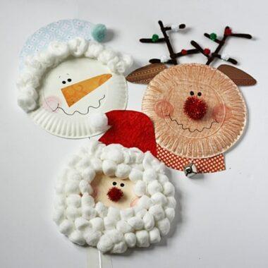 Paper Plate Santa, Rudolph and Snowman by @amandaformaro Crafts by Amanda