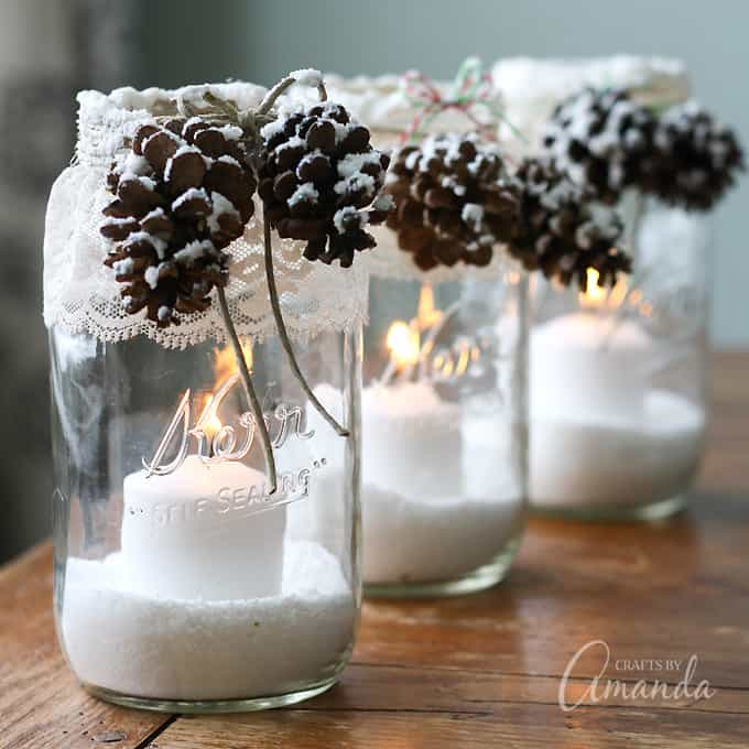 snowy pinecone candle jar luminaries