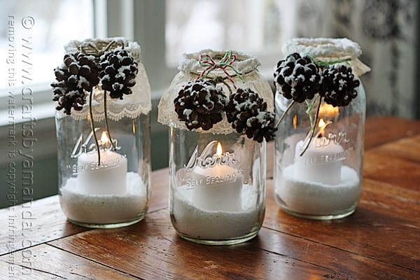 Winter Luminaries Snowy Pinecone Candle Jars
