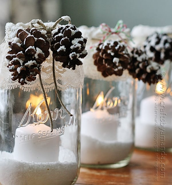 DIY Mason Jar Candles Christmas Pinecones