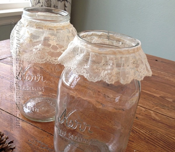 Adding lace to jars