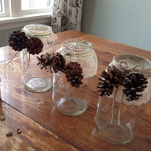 Glue pinecones to twine
