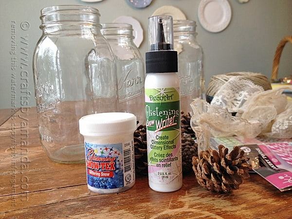 Supplies for snowy pinecone winter luminaries