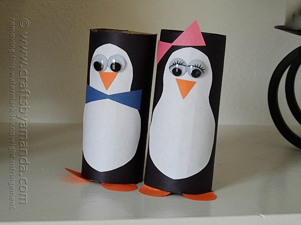 Cardboard Tube Penguins by @amandaformaro Crafts by Amanda