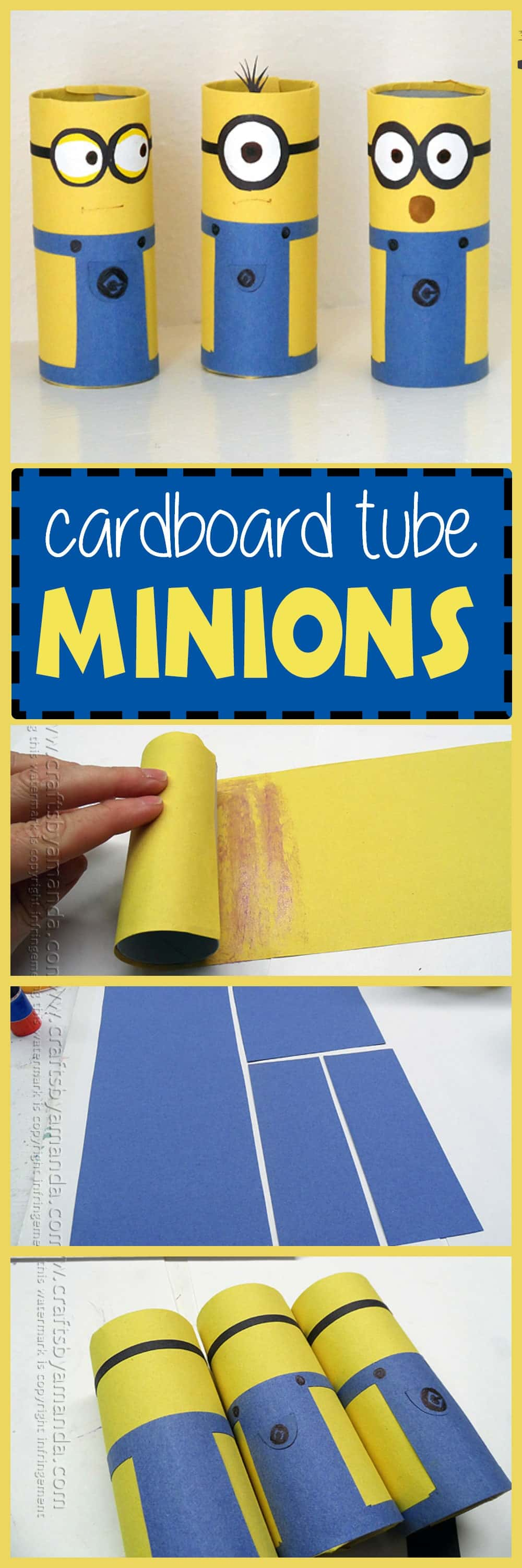 Cardboard Tube Minions: your kids will love making these fun minions using a few simple supplies you probably already have on hand!