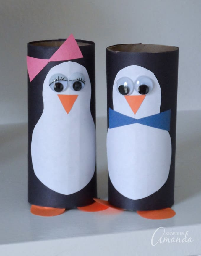 penguins made from toilet paper rolls