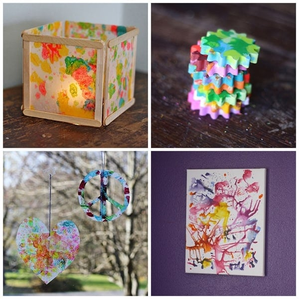 4 Ways to Recycle Broken Crayons @amandaformaro Crafts by Amanda