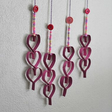 Cardboard Tube Dangling Hearts @amandaformaro Crafts by Amanda