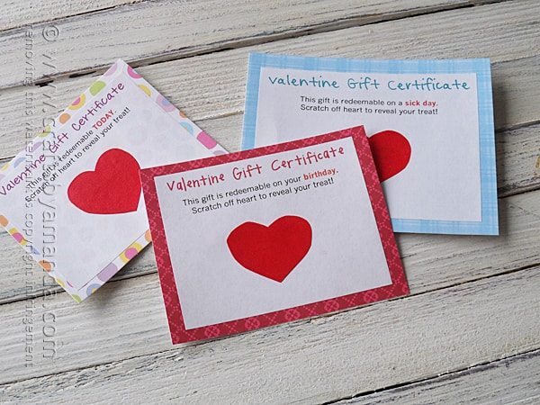 Scratch Off Valentine Gift Certificates by @amandaformaro Crafts by Amanda