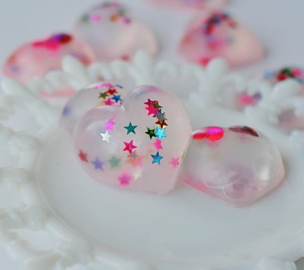 Decorative Confetti Heart Soaps by @amandaformaro Crafts by Amanda