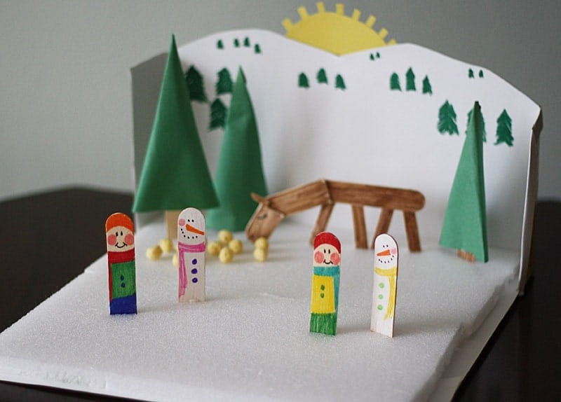 Cereal Box Winter Diorama Crafts By Amanda