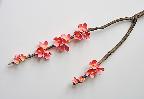 Egg Carton Cherry Blossom Branch