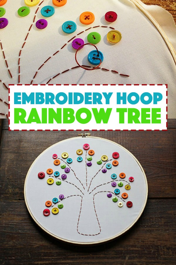 Embroidery Hoop Rainbow Button Tree