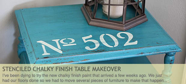 Stenciled Chalky Finish Table Makeover