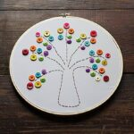 This embroidery hoop rainbow tree is a great project for beginners, and easy enough for kids. This rainbow tree makes a colorful and happy piece of art! #embroidery #kidscrafts #sewing #needlework #stpatricksday #stpatricksdaycrafts #adultcrafts #beginnersewing #embroideryhoop