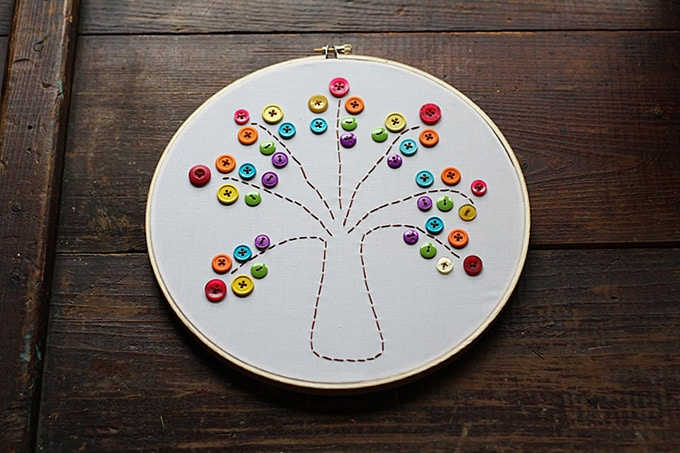 Embroidery Hoop with a rainbow button tree