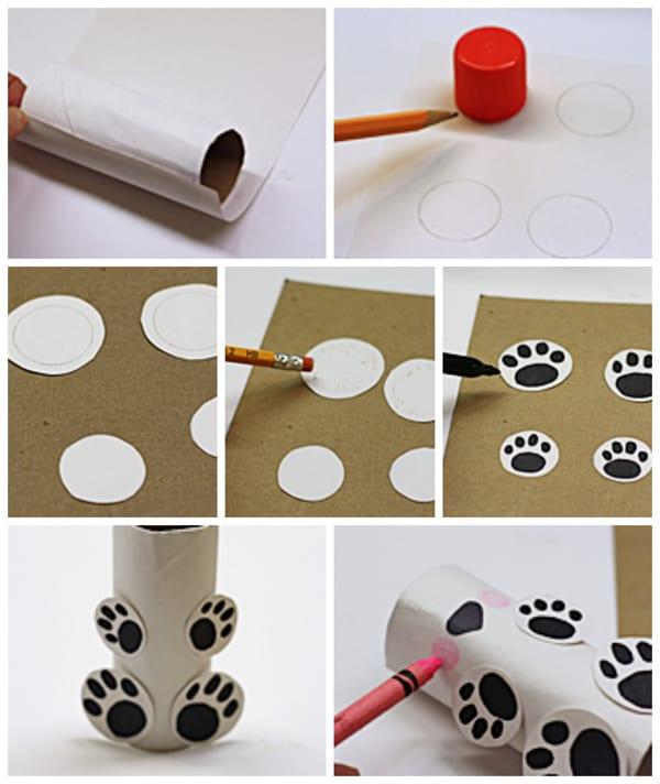 cardboard tube polar bear steps