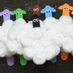 Colorful Flock of Craft Stick Sheep