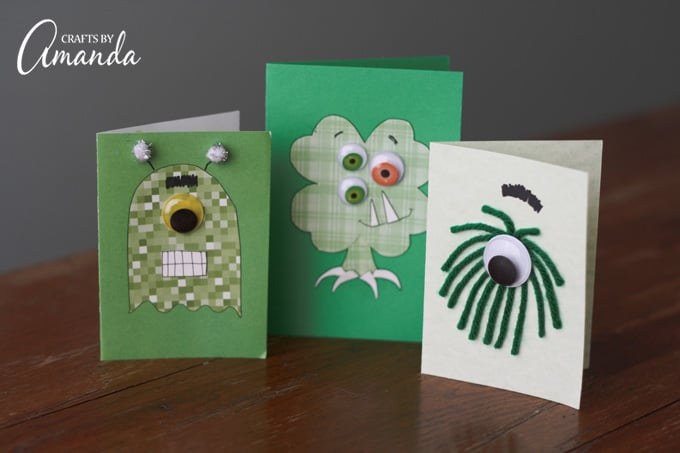 Adorable St. Patrick's Day Monster Cards for kids to create and hand out to friends!