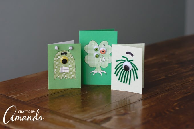 Monster Cards as a St. Patrick's Day craft for kids!