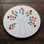 Embroidery Hoop Rainbow Button Tree