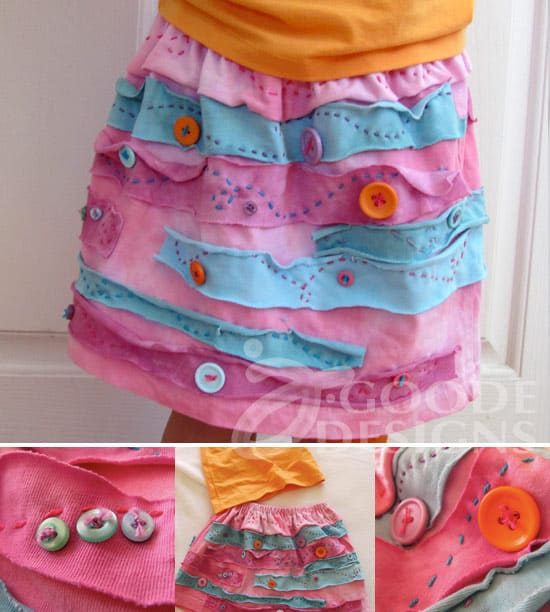 Recycled t-shirt button skirt