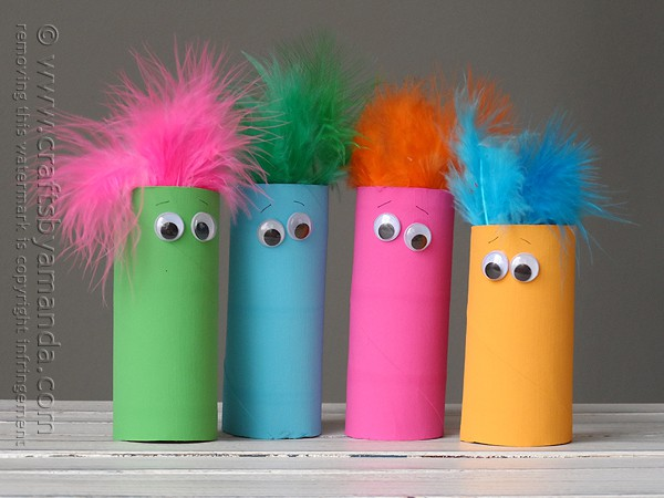What an awesome way to recycle cardboard tubes. Definitely making this craft with the kids! #kidscrafts @amandaformaro