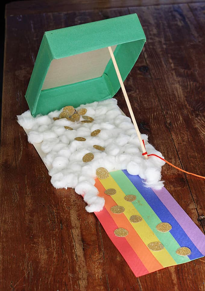 Leprechaun trap made from a cereal box