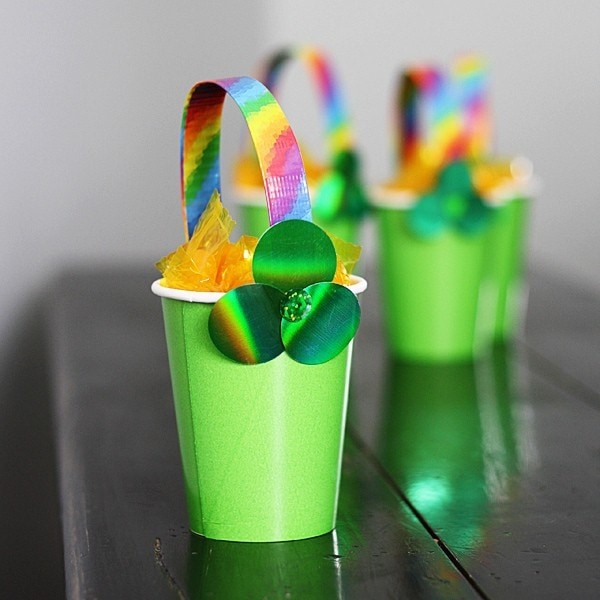 green and rainbow treat cups