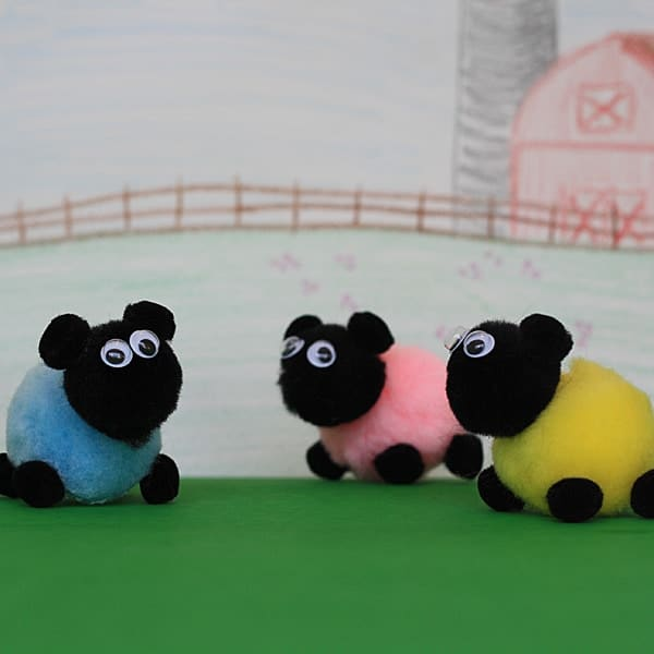 Loving the cute background picture because these pom pom sheep! What a fun way for the kids to pretend. We'll be pulling out the pom poms and crayons this weekend!