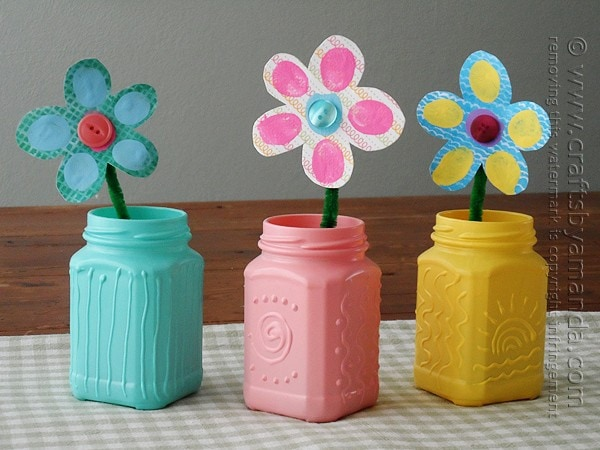 I love how bright and cheerful these recycled jars are. The three dimensional effect is so cool!