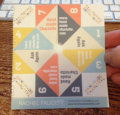 Handmade Charlotte cootie catcher business card!