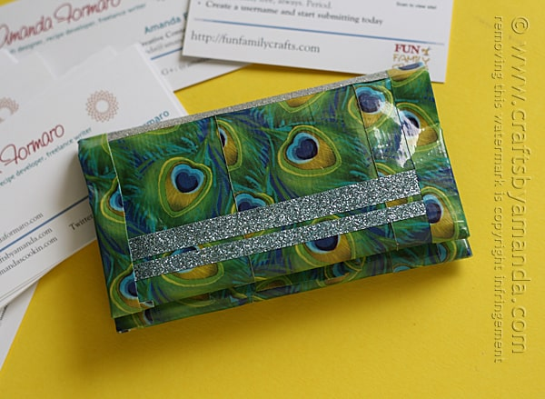 Ohh! I need to make one of these Duck Tape business card holders, LOVE the peacock and glitter tapes!