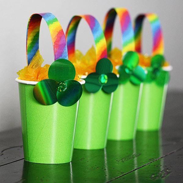 shamrock and rainbow themed treat cups craft