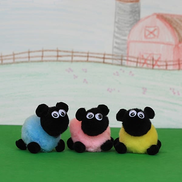 Little pom pom sheep crafts by amanda for What to make with pom poms crafts